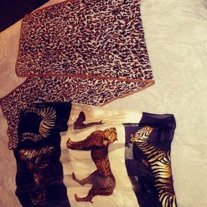 2 loepard and animal print scarves!